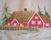 Vintage Swedish Wall Hanging for Room Decoration - Embroidery - Rural Rustic Village With Sentence - Tradition Sweden  Art Decoration