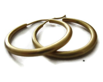 Big Gold Hoop Earrings, Round Large Gold Hoops, ARTISAN HANDMADE  by Sheri Beryl
