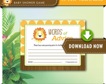 Safari Baby Shower Game, ADVICE CARD, Born to be Wild Jungle theme, Printable, Invitation and Party Decorations available. Instant Download