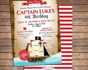 Pirate Invitation, Pirate Party Invitations, Pirate Birthday Invitation, Pirate Birthday Party Invites - Printable Digital