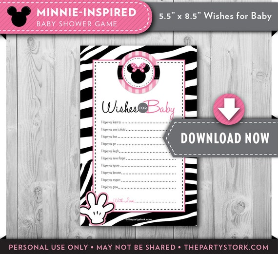 minnie mouse baby shower   wishes for baby printable card   pink, Birthday invitations