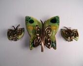 Butterfly Matisse Copper Enamel Jewelry Set, Classic Modern 50s, Signed