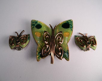 Signed Matisse Copper Enamel Butterfly Jewelry Set, Classic Modern 50s