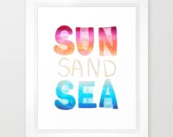 SUN, SAND SEA  Art Print  by SchatziBrown