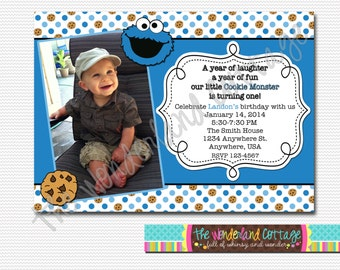Sesame Street Cookie Monster Invitation