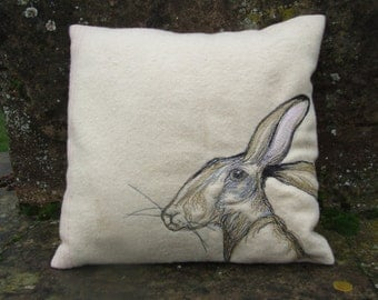 West facing hare cushion cover