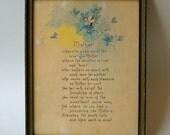 Mother Vintage Print Poem Art Nouveau 1920s Mothers Day Motto