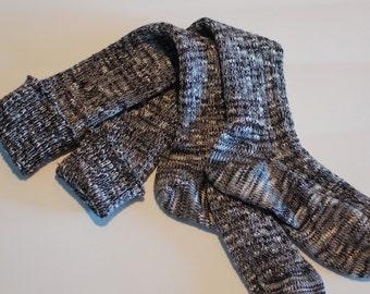 Socks Black White Knee High Boot Handcranked Variegated Wool Cotton CSM