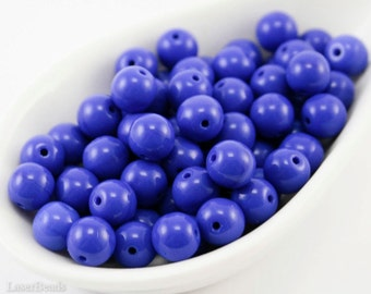 7mm Bright Navy Blue Beads (35) Czech Small Opaque Glass Pressed Round Druk Spacers last