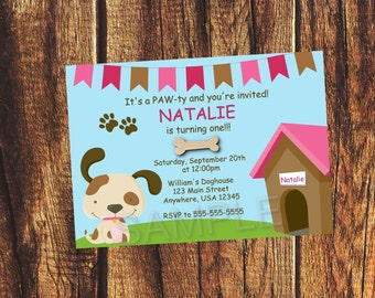 Pink Puppy Party Invitation (Listing is for a digital file)