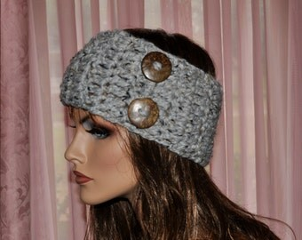 Crochet  Chunky Headwrap, Wide Headband with buttons, Hand made by me,  Christmas Gift for Her,