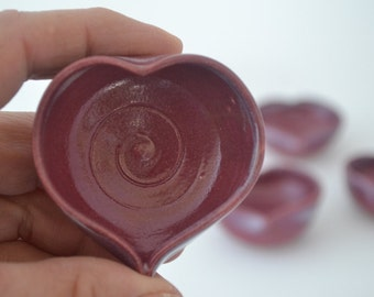 """IN STOCK, Burgundy Miniature Heart Vase, Small Pottery, 2 1/2"""" by 3/4"""""""