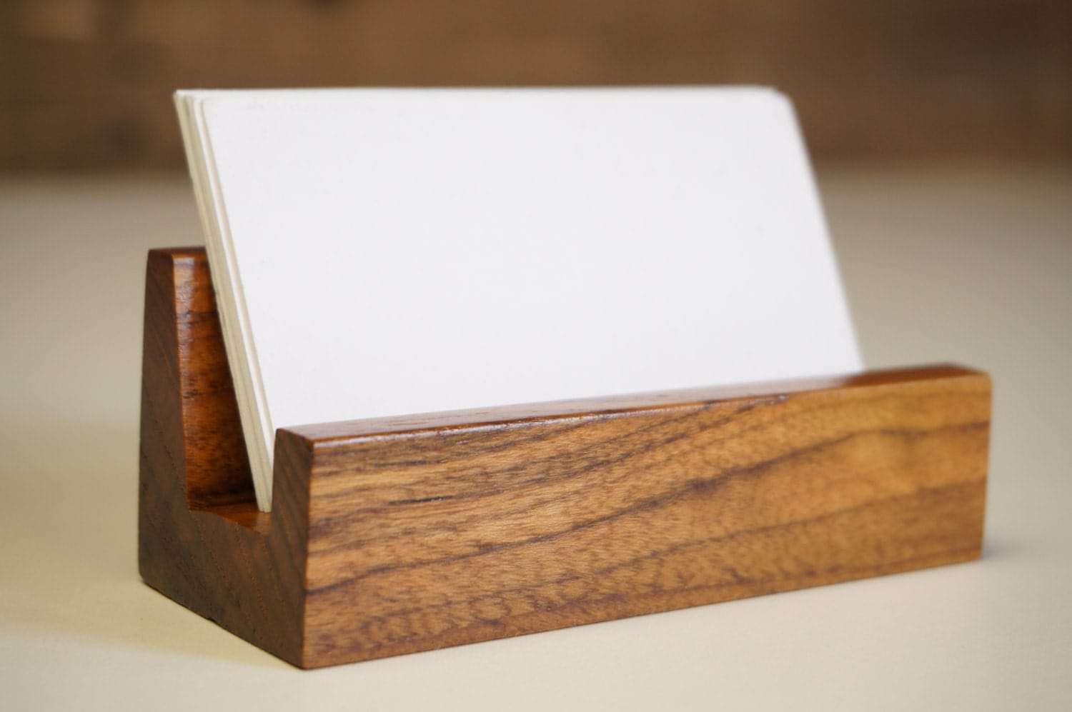 Wood Office Desk Business Card Holder Office Accessories Office