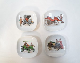 Set of 4 Vintage French Limoges Porcelain dish trays with cars w523