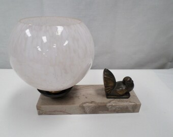 Art Deco Lamp Spelter and Marble 30s