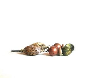 Solstice Earrings green gold copper by Nancelpancel on Etsy