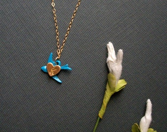 Womans Blue Bird Necklace Tiny Initial Heart 14K Gold FIlled Chain Brass Style Pendant Necklace