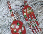 Christmas Ornaments Floral Painted Spoon And Fork Spring Sale 25%OFF Coupon Code SPRING25