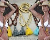 2 healing prayer wood beads mala  turquoise hematatie crystal meditation yoga jewelery bracelet buddha tassel Elle Macpherson