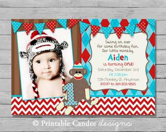 Chevron Sock Monkey Birthday Invitation - Sock Monkey Birthday - Monkey Birthday - Sock Monkey Party - DIY Custom Printable