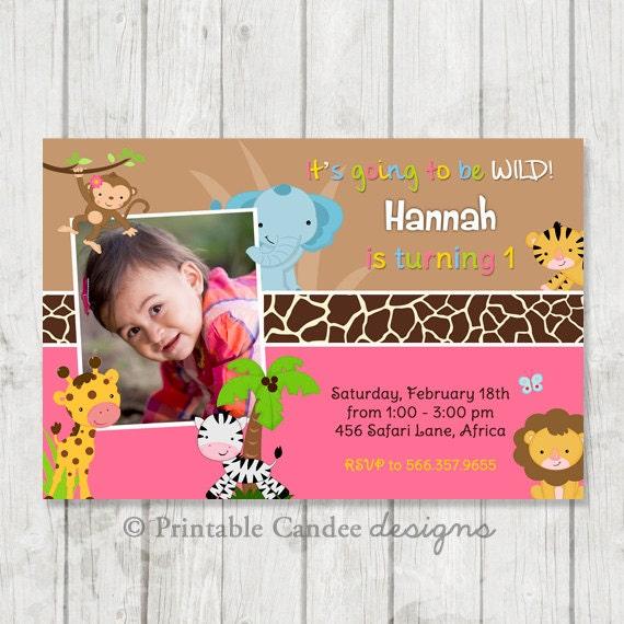 Jungle Safari Girl Birthday Invitation - DIY Custom Printable