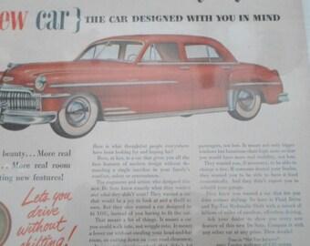 Magazine Ad, Vintage Advertising, Mad Men, Car Ad, 1950s, DeSoto, Authentic Ad, Man Cave, Props, Ephemera, All Vintage Man