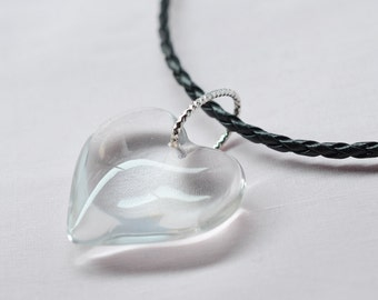 Crystal Quartz Heart - Stone Pendant Necklace - Crystal Quartz - Gemstone Pendant