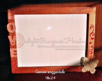 18x24 wooden frame with love decorations handmade