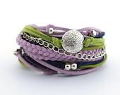 Wrap Bracelet, Navy Blue Green Purple Bracelet, Boho bracelet, suede, double wrap, boho chic