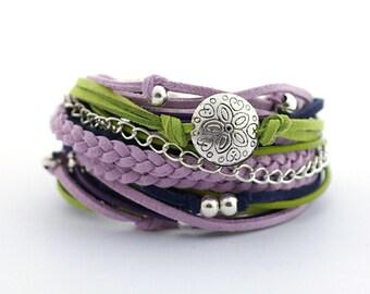 Green Violet Bohemian Bracelet, Navy Blue Green Purple Bracelet, Boho bracelet, suede, double wrap, boho chic