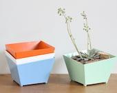 metal planter, colored planter, planter, succulent, powder coated
