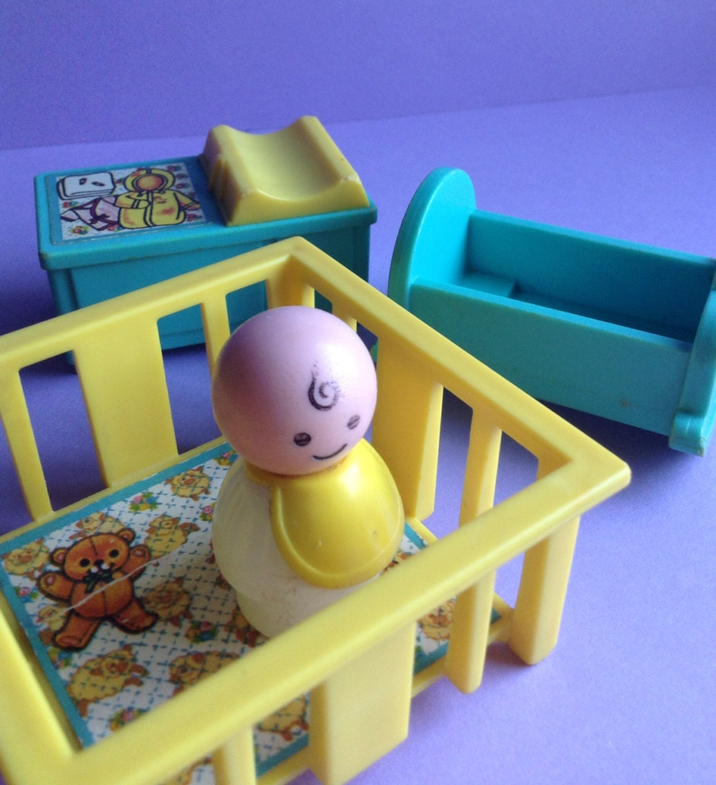 70s Fisher Price Little People Baby Amp Nursery 4 Piece Set