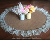 40 Inch Rustic Charm Burlap and Mint Green Lace Overlay or table Runner for Rustic Wedding runner Country Barn wedding Shabby Chic wedding