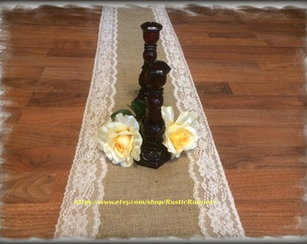Rustic Charm Wedding Burlap and 3 inch Natural lace Rustic table runner size 12 inches wide X 96 inches (8ft) long  Rustic Country party