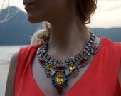 Rita - Vivid Swarovski Crystal Statement Necklace Ready to Ship