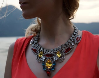 Rita - Vivid Swarovski Crystal Statement Necklace Ready to Ship