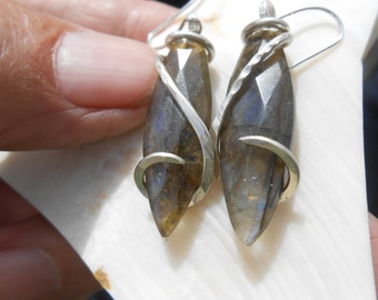 Faceted Labradorite Silver Wrapped Earrings