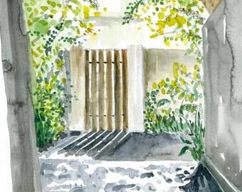 Watercolor Landscape Art Print of Original Painting -- The Gate