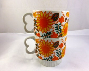 Pair of 1970s Coffee Mugs or Cups