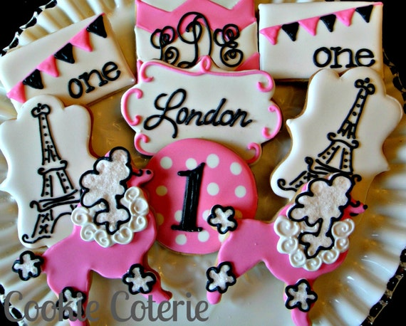 french poodle paris themed birthday party baby shower decorated cookie