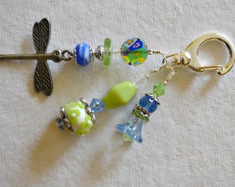 Green and Blue Beaded Decorative Clip with Dragonfly Charm