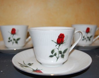 "Vintage Set Of 3 German Tea Cup And Saucer ""Rose"" Mitterteich Bavaria Rose Porcelain"