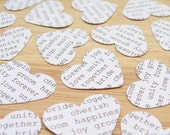 100 Wedding Words Confetti Hearts - Engagement, Wedding, Anniversary - Heart Table Decor, Invitations, Vintage Decor