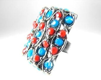 Fun Fashion Ring Turquoise Coral Look Weave Design Vintage 70s Jewelry
