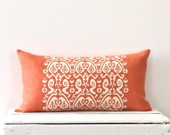 """Ikat Paisley Lumber Pillow Cover  12"""" x 24"""" -Persimmon / Off White"""