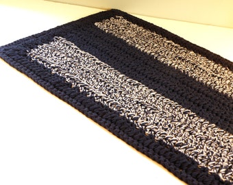 Large Cotton Rectangular Kitchen Rug, Handmade Crocheted Cotton Bath Mat, Navy and Grey Floor Rug, OOAK Area rug, Great for boy nursery too!
