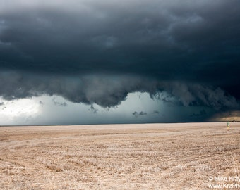 An Approaching Supercell Severe Thunderstorm Hovers Over a Wheat Field in Colorado