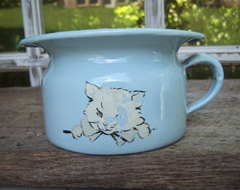 Enamelware Potty, Child's vintage potty, Chamberpot, Blue Porcelain Potty