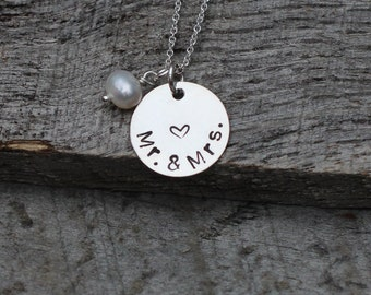 Hand Stamped Mr & Mrs Necklace with Heart