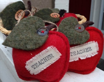 "Perfect holiday gift of felted wool ""Teacher"" apple"
